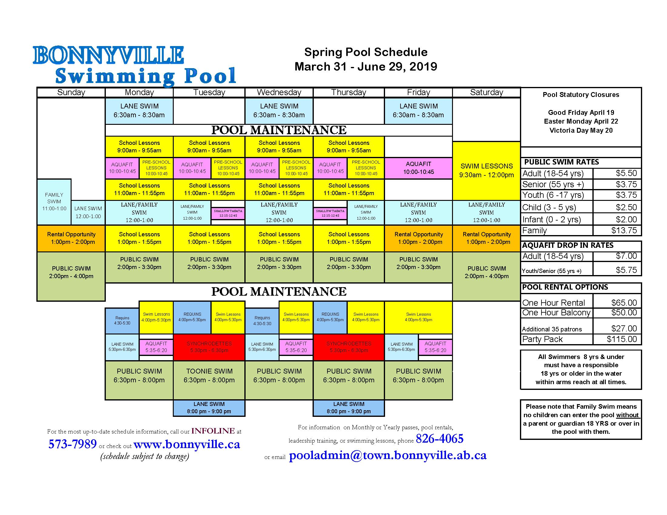 Public Swim Schedule March 31 - June 29, 2019