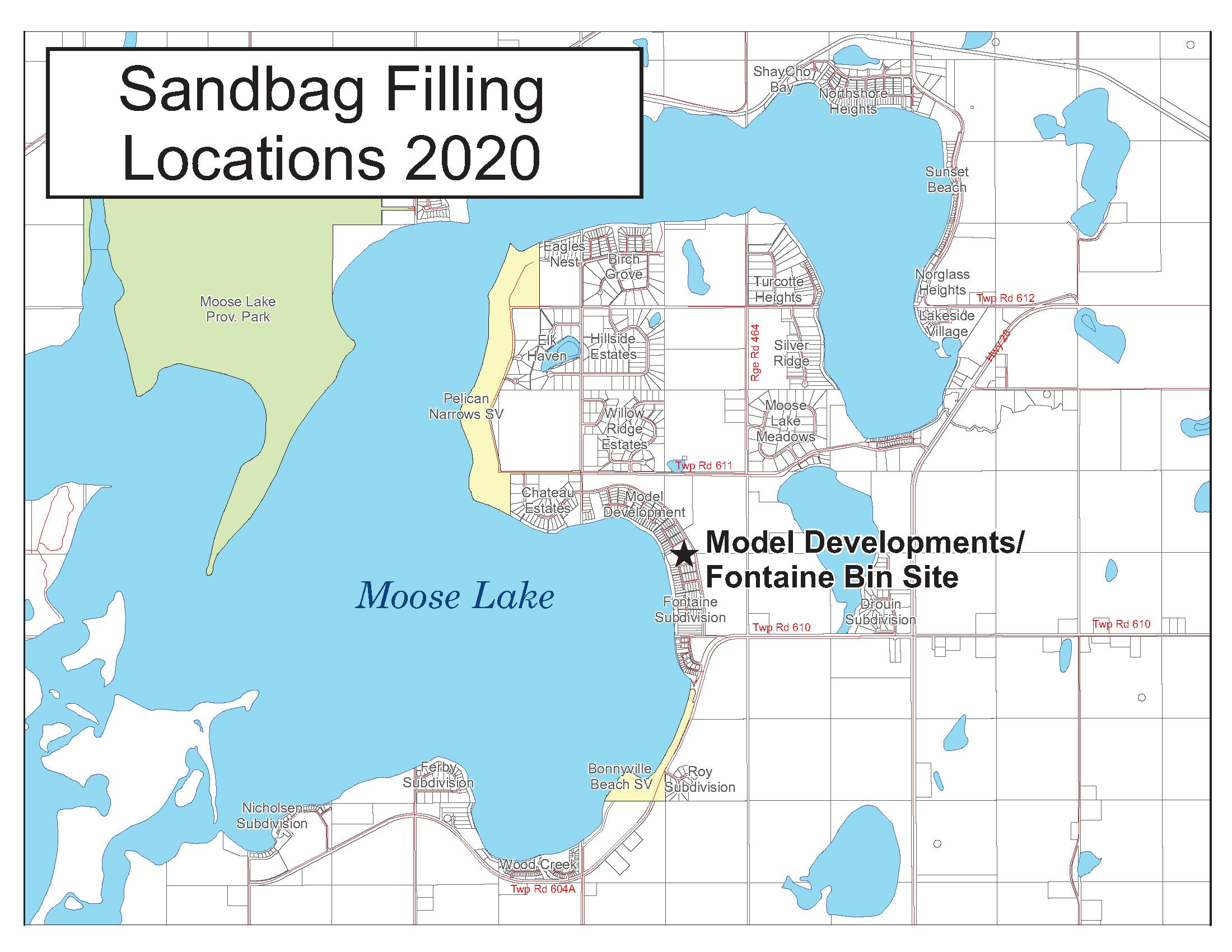 Sandbags Map 2020 - Moose Lake